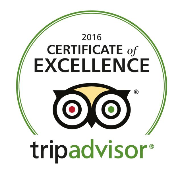 Our Tripadvisor certificate of excellence